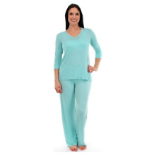 New PJ SALVAGE Rayon Basics Silky Smooth Turquoise LS Top & Pants Sleep Set S