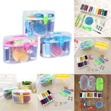 Sewing Set Thread Threader Needle Tape Measure Scissor Thimble Box Bag Pratical