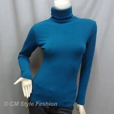* Chic Comfy Turtleneck Sweater Blouse Top Blue S