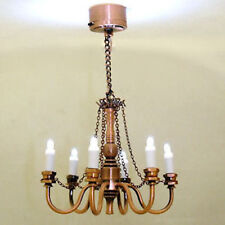 Mini Battery Lighting Copper Finish Candle Chandelier 1:12 Dollhouse Miniatures