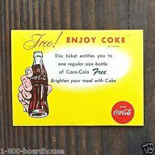Vintage Original COCA COLA SODA COKE Soda Drink Card Coupon Ticket 1965 NOS