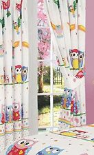 """OWLS / OWL LOVE 66"""" X 72"""" DROP HEARTS / FLOWERS / SPOTS PINK / WHITE CURTAINS"""