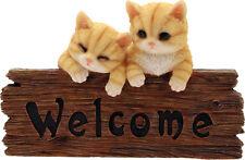 Targa Welcome gatti in resina da giardino (Benvenuto Gatto) (Arredo/Decorazione)
