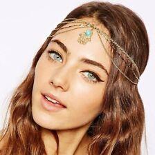 Gold Tassel Chain Evil Hand Pendant Crown Head Hair Cuff Headband Headpiece Punk