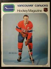 1970 VANCOUVER CANUCKS MONTREAL CANADIENS HOCKEY PROGRAM JEAN BELIVEAU