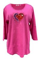 QUACKER FACTORY Bling in the Holidays Heart 3/4 Sleeve T-Shirt Pink  B0000RM