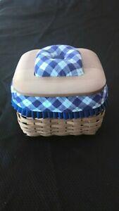 "Longaberger Blue Ribbon ""Mending Basket"" with Lid - Liner and 2 Protectors"
