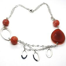 SILVER 925 NECKLACE, CARNELIAN RED DROP, AGATE SPOTTED, OVALS HANGING