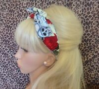 NEW  IVORY SKULL RED ROSE PRINT BENDY WIRE WIRED SCARF FABRIC HAIR HEAD BAND