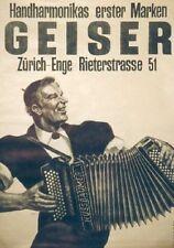 Original Plakat - Handharmonikas erster Marken - Geisser, Zürich-Enge