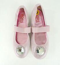 Michael Kors Girls Light Pink Sparkly Rhinestone Jewel Ballet Flats Shoes Size 5