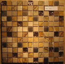 1x Glas Mosaikfliese - Beige - Braun - Restposten