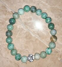 "8mm bead 7.25""- 7.5"" Long#15 organza bag 1x Natural Jade & Flower Bead Bracelet"