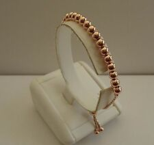 14K ROSE GOLD OVER 925 STERLING SILVER ROUND BEADED BRACELET /8'' ADJUSTABLE