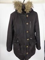 WOMENS REDHERRING BLACK ZIP UP BUTTON UP COAT JACKET FAUX FUR HOODED SIZE 10