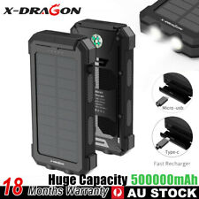 500000mAh Portable Solar Charger Power Bank Dual USB 2.4A Fast Charge Waterproof