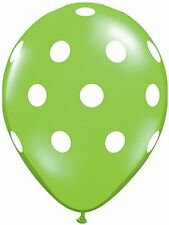"10pc - 11"" Qualatex Big Polka Dot Lime Green Latex Balloon Party Decoration Dots"