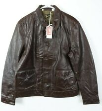 NEW $995 Menlo Cossack Levi's Vintage Italy Brown Leather Jacket Einstein Mens M