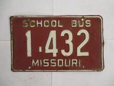 1940s 1950s Missouri SCHOOL BUS  License Plate Tag