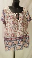 LUCKY BRAND WHITE BLUE PINK BLOUSE SHORT SLEEVE TOP FLORAL SZ L LARGE RETAIL $89
