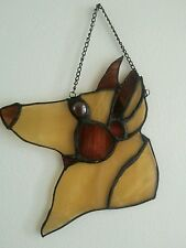 """Stained Glass Suncatcher """"shephard dog face"""" by Barb's Design 6.5 x  6 inch"""