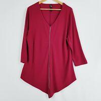 TS Taking Shape Women's Size S Size 16 Maroon Ref Blouse 3/4 Sleeves Zip feature