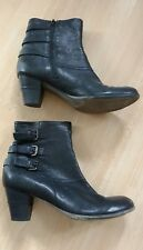 Black leather heeled ankle boots, size 41/7, Jones bootmakers