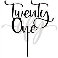 21st Birthday Cake Topper Acrylic Black Twenty One Wedding Anniversary Party