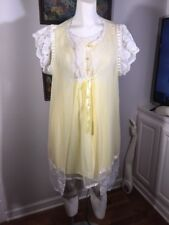 Gilead Yellow Chiffon Robe With Matching Gown Peignoir  Size Small