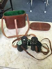 Rare WW 1 Brass Hunsicker & Alexis France 8 X Binoculars With Case And Strap.