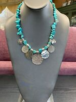Vintage Turquoise Stone Bohemian Coin  Beaded Bib Statement Necklace 18""