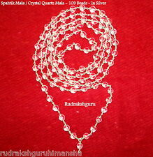 Sphatik Mala / Crystal Quartz Rosary - 109 Beads - In Silver - Lab Certified