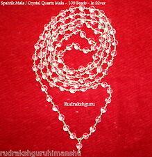 Sphatik Mala / Crystal Quartz Rosary - 109 Beads - In Silver - Lab Certified