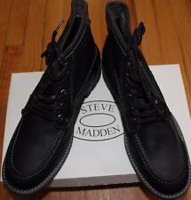 $160 STEVE MADDEN BLACK LEATHER LACE UP BOOTS SZ 11.5D US