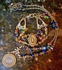 HAND MADE BRASS AND BOREALIS CRYSTAL  NEW ANTIQUE FINDINGS NECKLACE AND BRACELET
