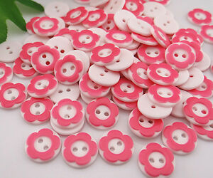 DIY White And Pink Resin Flowers Sewing Buttons Scrapbooking Decorations 13mm