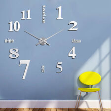 Modern DIY Large 3D Number DIY Wall Clock Acrylic Mirror Sticker Home Decor