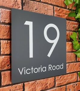 Square Modern House Sign Personalised with Street Name & Number Acrylic Large