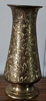 "Vintage-Retro-Floral Etched Brass Vase-Made in India-6"" Tall"