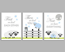 First We Had Each Other, Counting Sheep, 3 Wall Art Nursery Prints, Blue & Grey