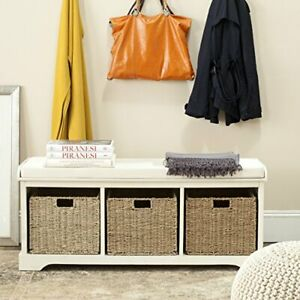 American Homes Collection Lonan Grey And White Wicker Storage Bench