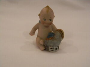 Antique Bisque Rose O'Neil Kewpie Seated With Turkey