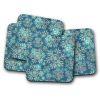 4 Set - Blue Snowflakes Coaster - Snow Ice Winter Ski Skiing Cool Gift #12404