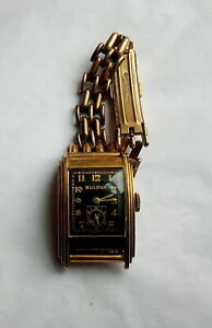 1928 Bulova Men's Wristwatch Art Deco GF Case Black Face