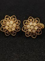 Vintage Patent Stamped Gold Tone Open Owner Glass Screw Back Clip Earrings 12989