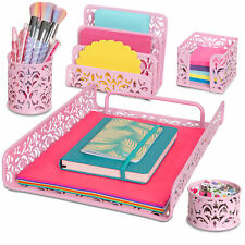 Pink 5 Piece Desk Organizer Amp Accessories Set For Home School Office Amp More