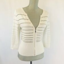 White House Black Market Sheer Striped Cardigan Size S-M 3/4 Sleeves *FLAW*