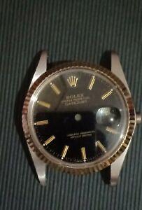 Rolex 16013 18k Fluted bezel, Black Dial, sapphire glass, case back & case Mint