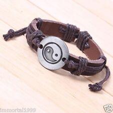 Bracelet cuir Tai Chi Ying Yang couleur: marron