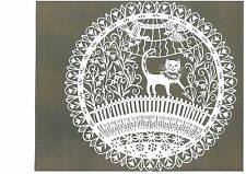 "Original Papercut ""Cat on the Fence"" by Lithuanian Traditional Artist"